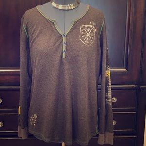EDDIE BAUER XXL Tee designs Shangri La Brown shirt